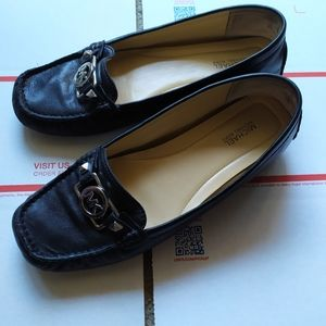 Michael Kors black leather loafers moccasins flats